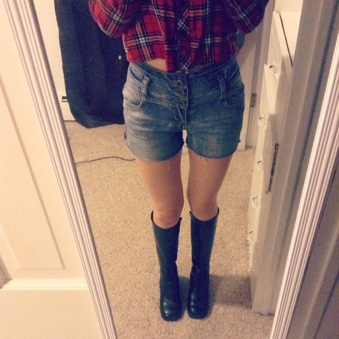 Old high wasted jeans cut into shorts Crop top flannel found at HuM
