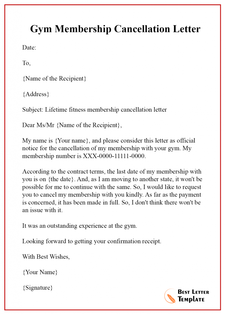 Membership Cancellation Letter Template- Format Sample ...
