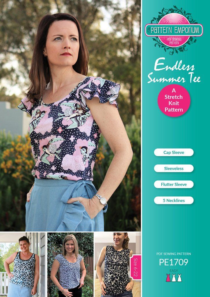 Endless Summer Tee Ladies Pdf Sewing Pattern Double Ruffle Sewing