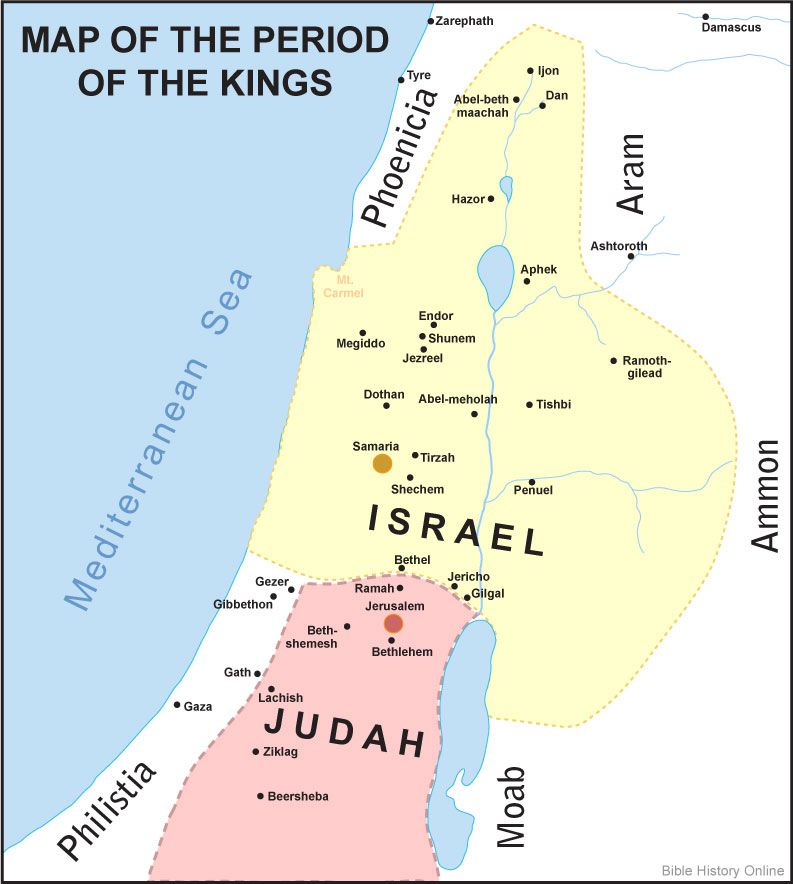 Map of israel and judah during the period of the kings bible maps map of israel and judah during the period of the kings gumiabroncs Gallery