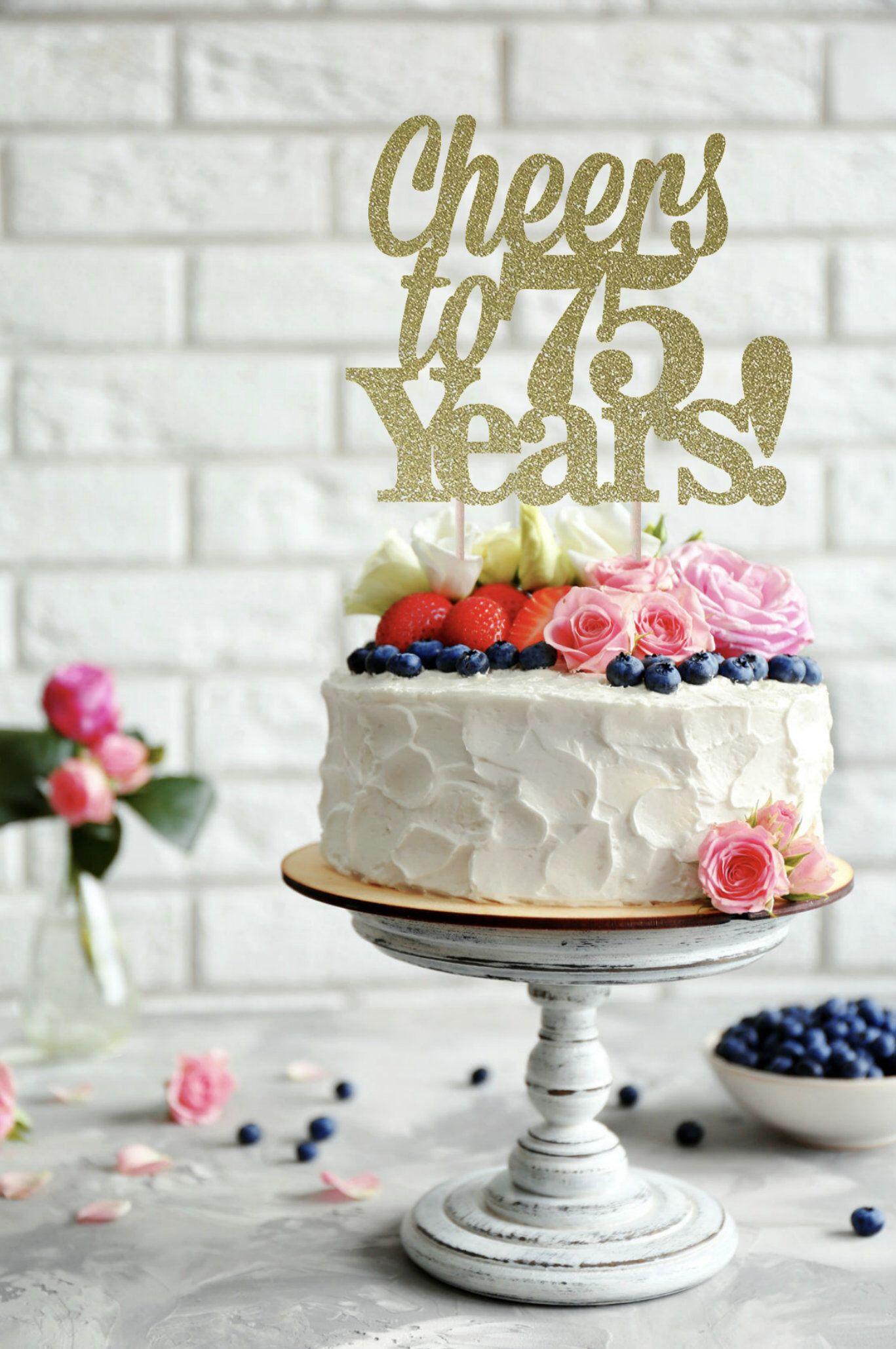 Cake Topper 75th Birthday Happy Anniversary 75 Years Loved
