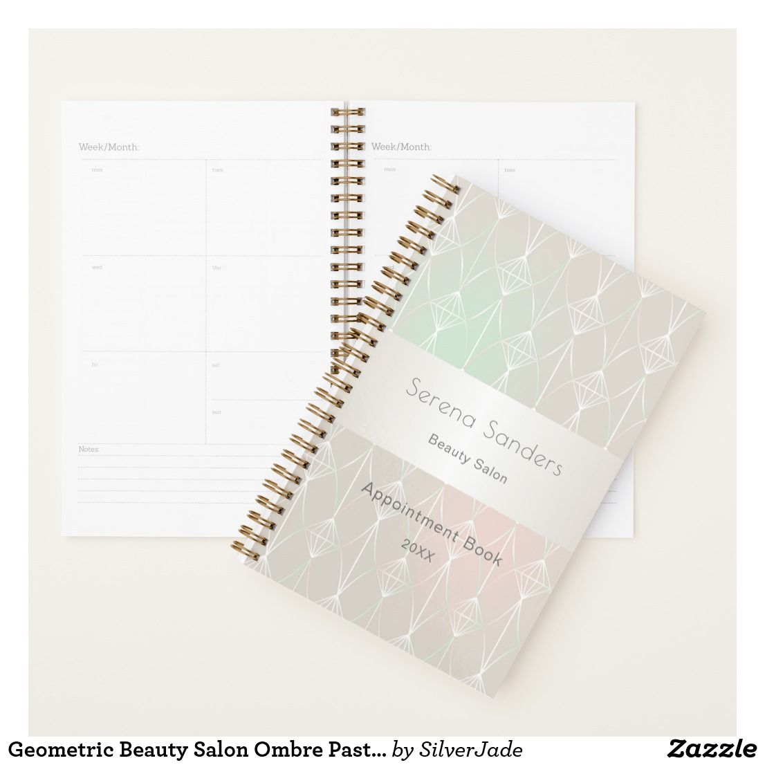 Geometric beauty salon ombre pastels taupe pink planner