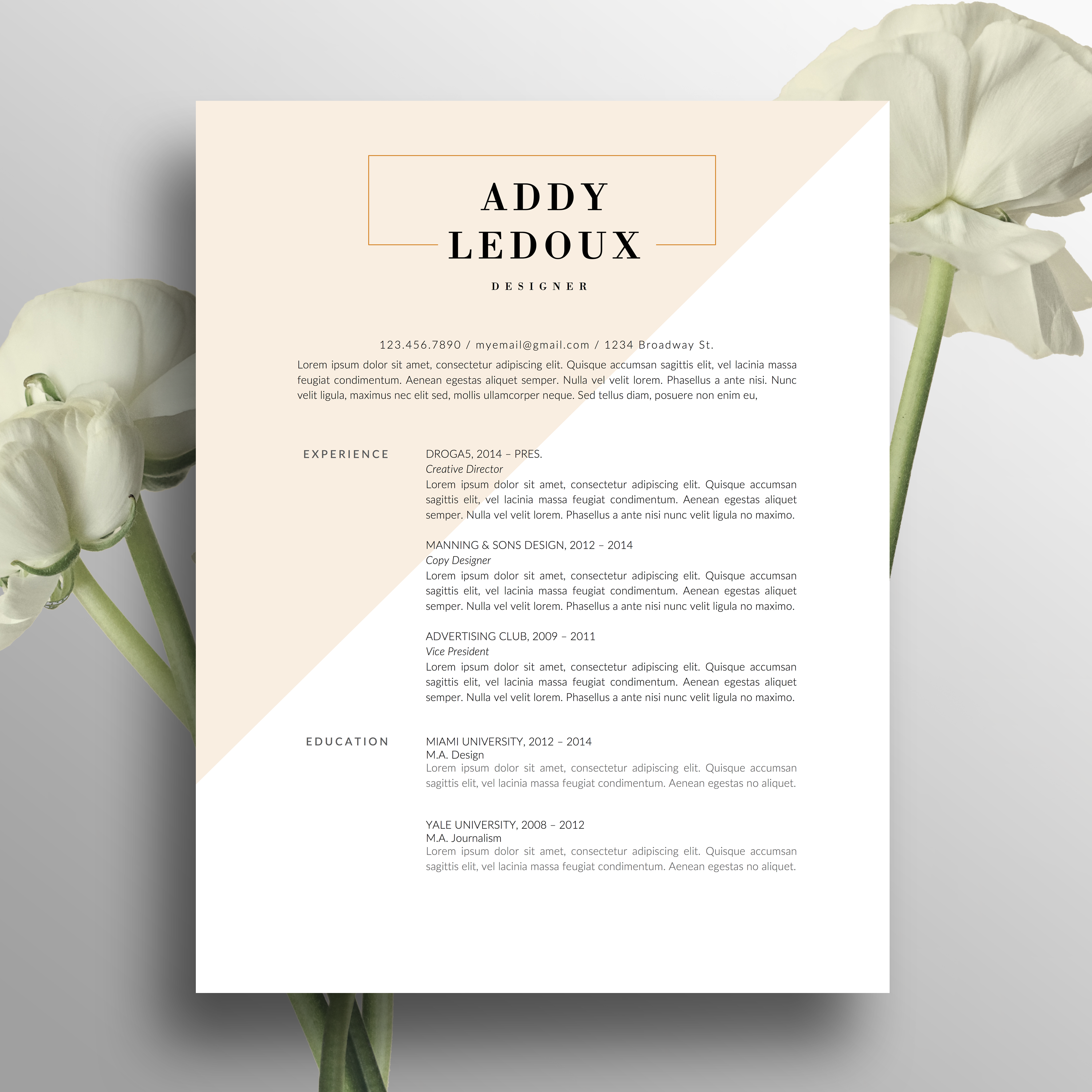 Creative Resume Template Cover Letter Word Us Letter A Cv