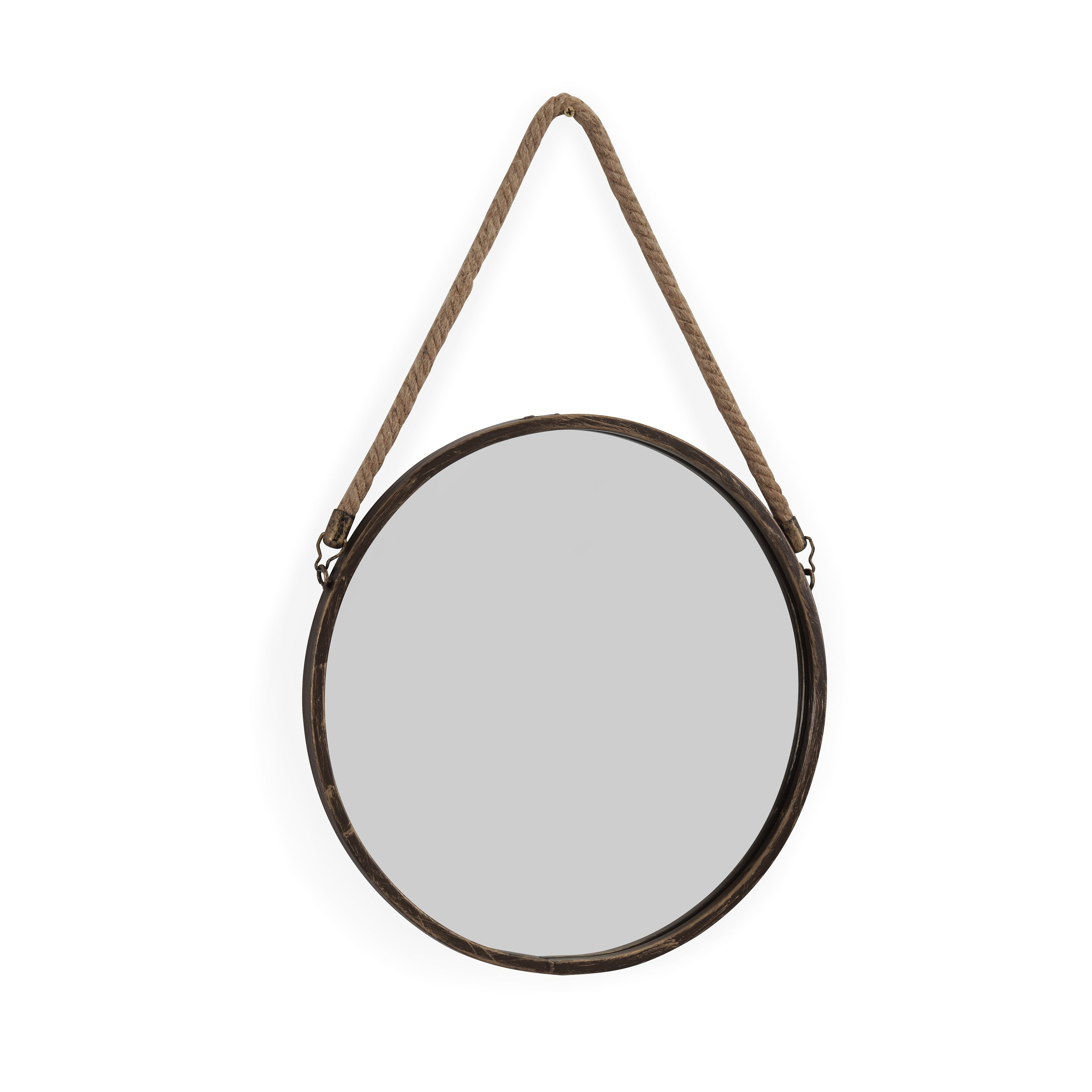 Danya B Patina Goldtone 15 Inch Hanging Rope Round Mirror Antique Gold A N Rope Mirror Accent Mirrors Round Mirror With Rope