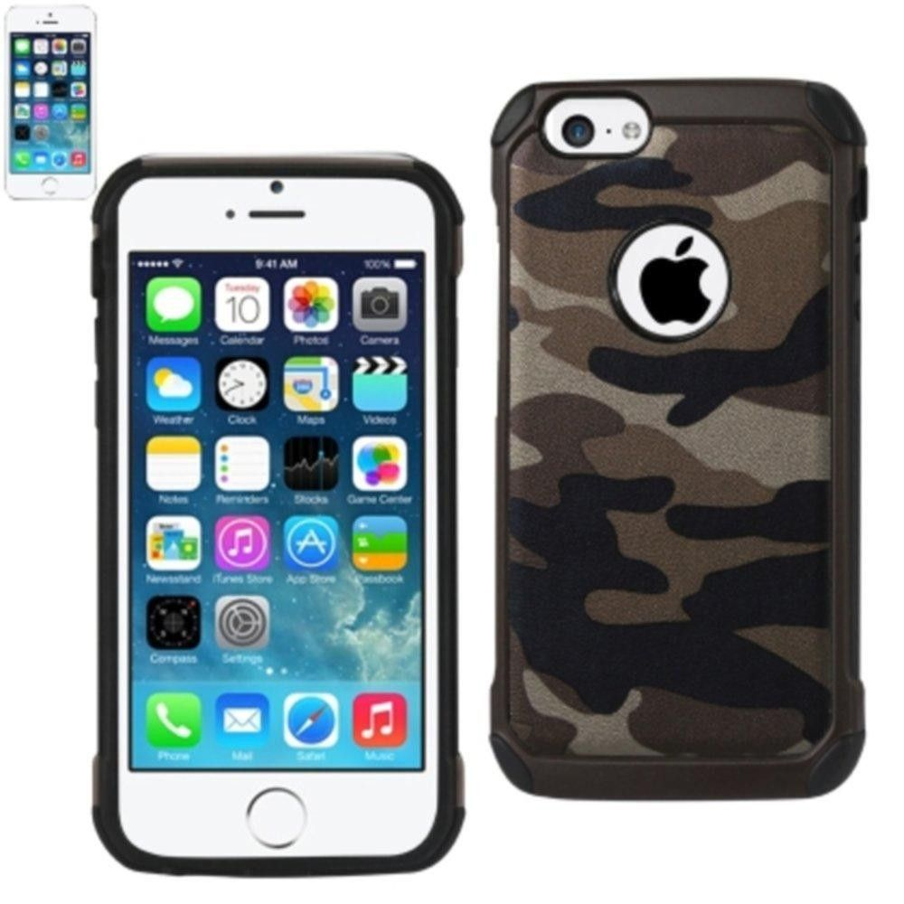 Reiko Design Hybrid Leather Protector Cover Iphone5 Brown Camouflage Design