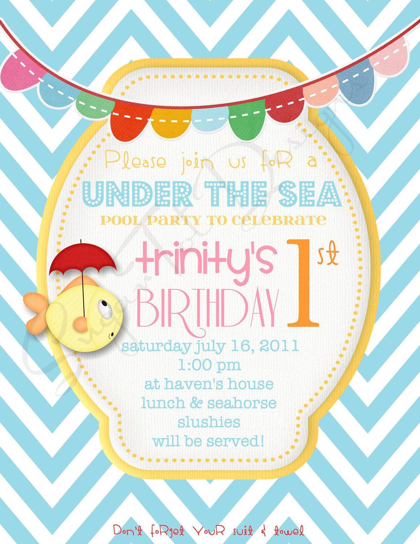 Pool Party Invitation, Under the Sea Birthday Invitation, Under the ...