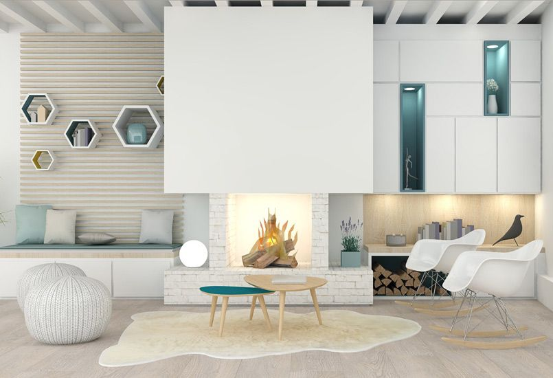 Un salon sur mesure meuble salon appartement agence for Meuble salon bois blanc