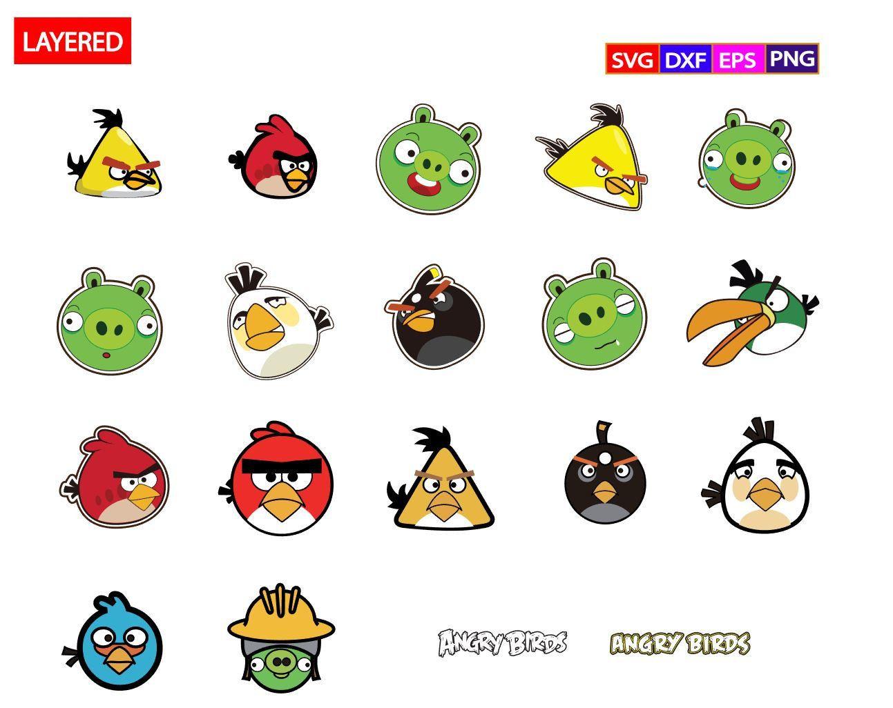Angry Birds Bundle Svgangry Birds Svgangry Birds Etsy Angry Birds Bird Clipart Vector Svg