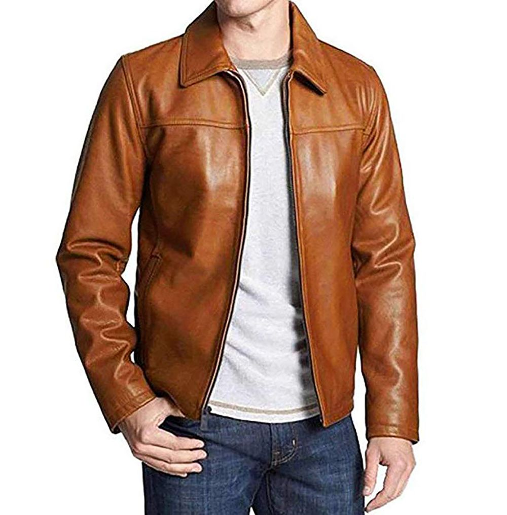 Men's Genuine Leather Lambskin Bomber Jacket Leather