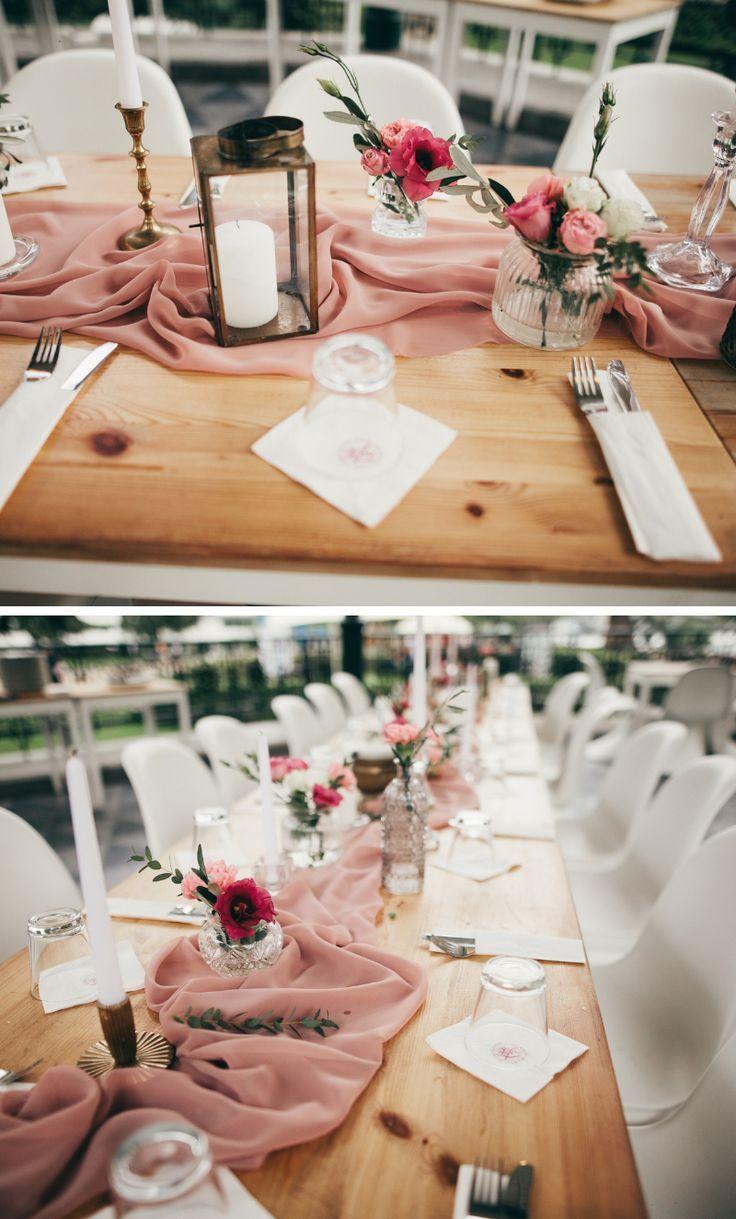 Elegante Tischdeko in Rosa #tischeindecken