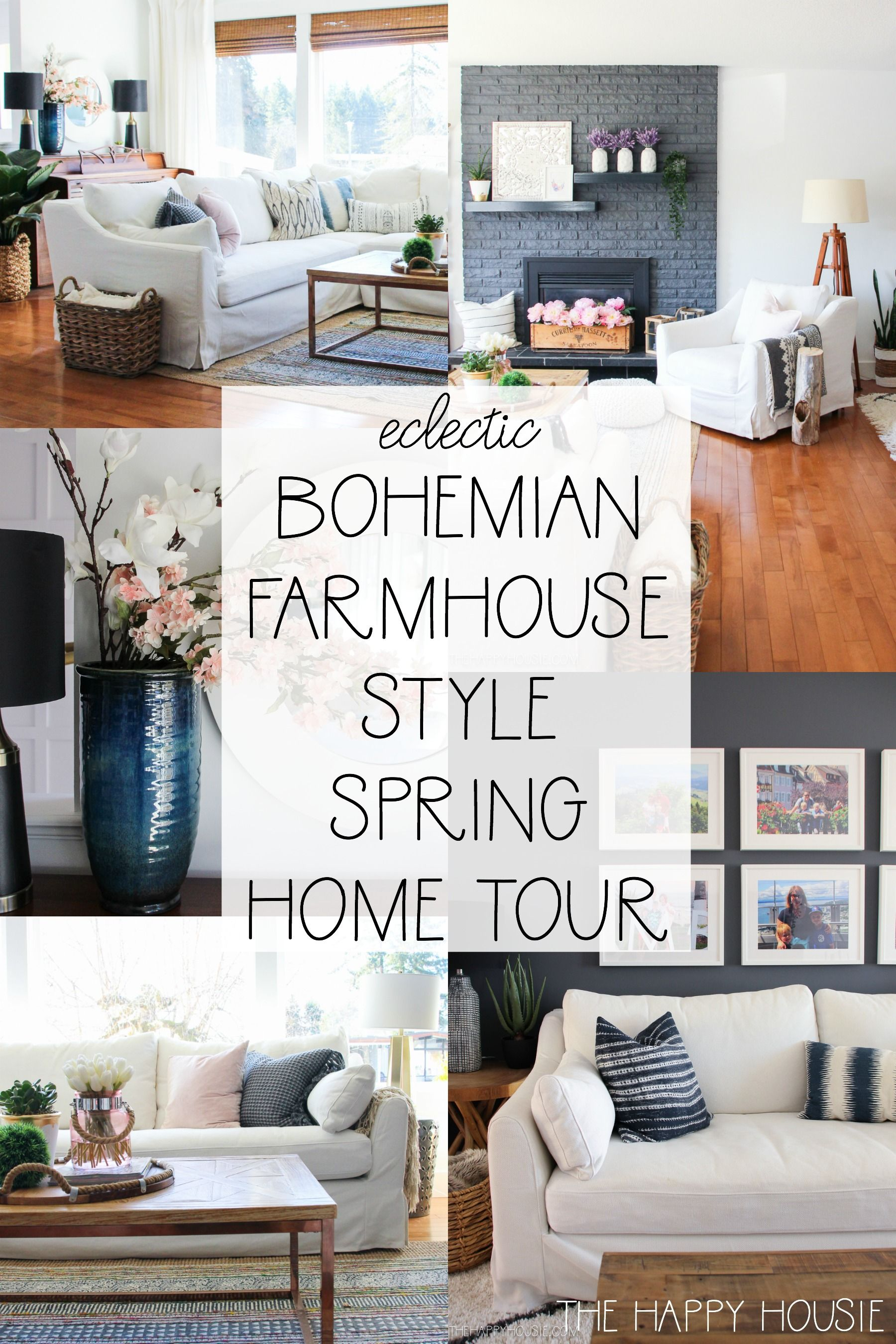 Photo of Eclectic Bohemian Farmhouse Style Spring Living Room Tour | The Happy Housie