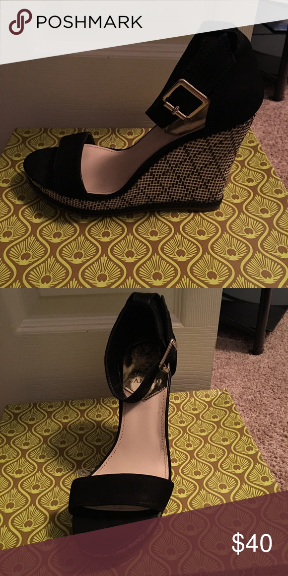 Vince Camuto Like new black suede wedges only worn one time......   *ALL ITEMS ARE FROM A PET FREE AND SMOKE FREE HOME* Vince Camuto Shoes Wedges