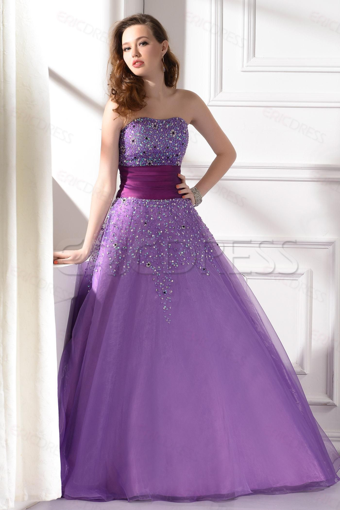 Gorgeous Strapless Floor-Length Paillette Prom/Evening Dress Elegant ...