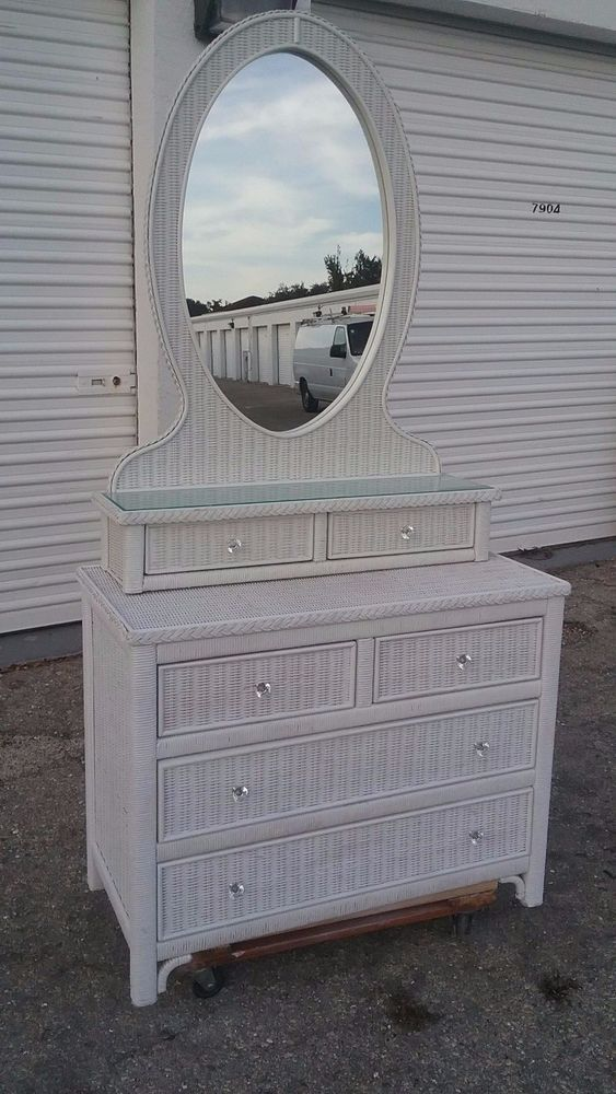 Lexington Wicker Henry Link Dresser And Mirror Set White Wicker