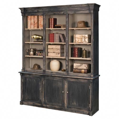 Photo of Masen Rustic Lodge Black Tan Reclaimed Pine Wood Bookcase