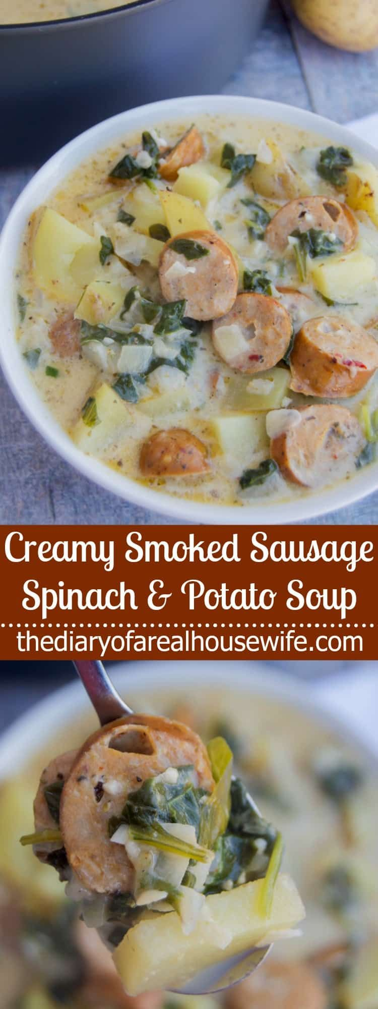 Creamy Smoked Sausage Spinach and Potato Soup #spinachsoup