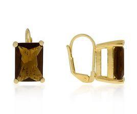 14kt Gold over Brass Smoky Quartz CZ Drop Earrings - Fashion Jewelry