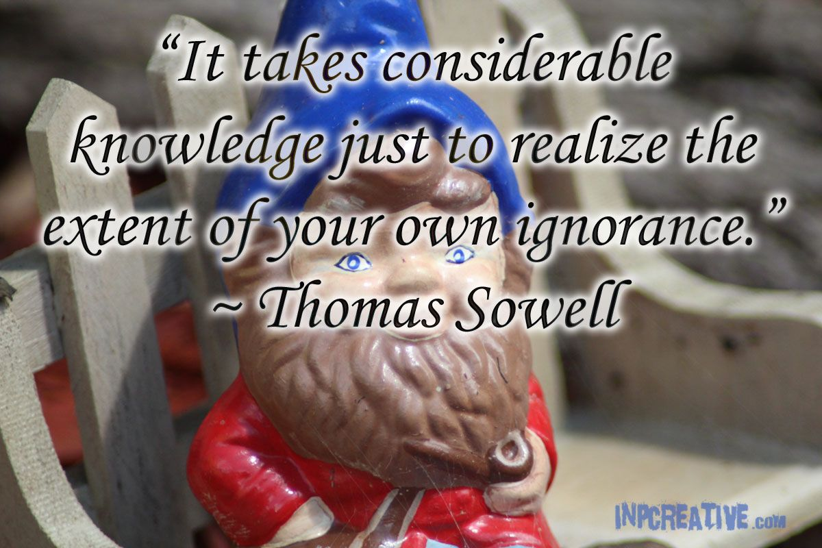 """It takes considerable knowledge just to realize the extent of your own ignorance."" ~ Thomas Sowell - inpcreative.com"