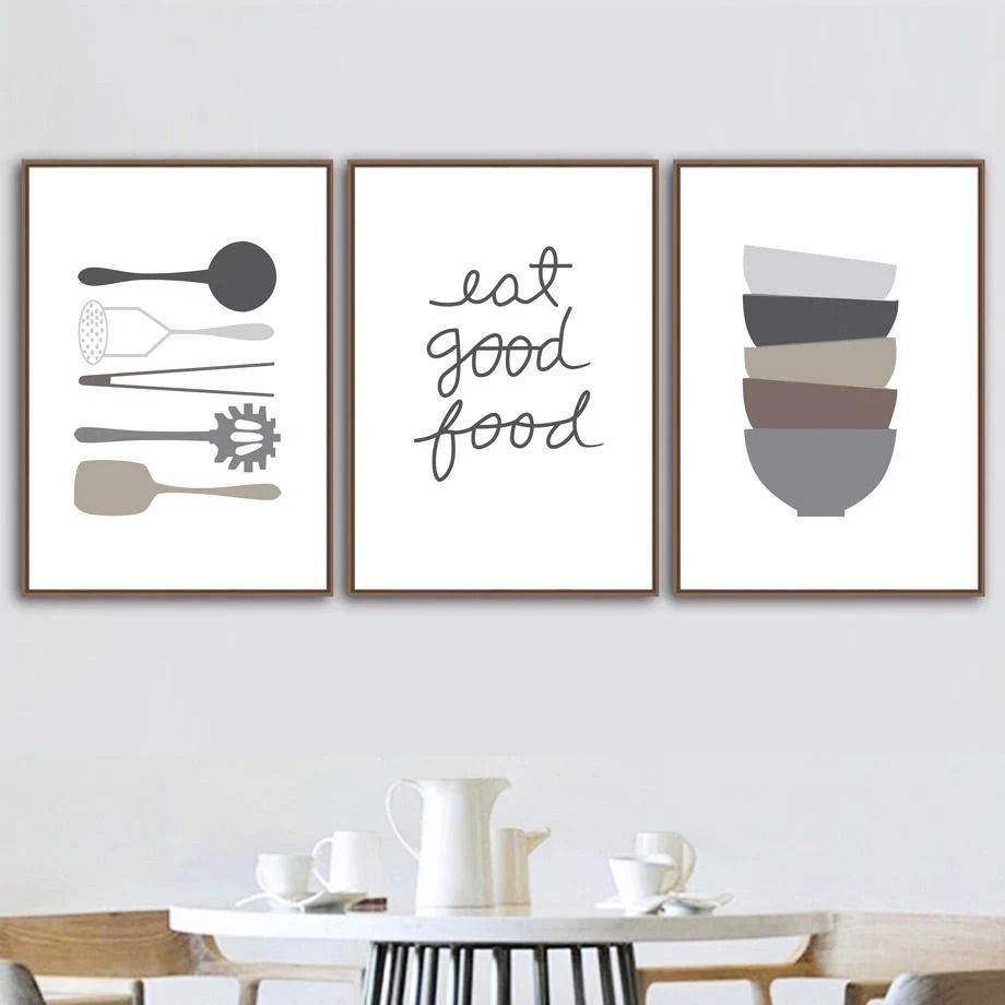 Food Lovers Canvas Kitchen Decor Wall Art Dining Room Painting