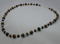 "Halskette ""Tigerauge"" - Perlenschmuck, gold-braun --- aus unserem Dawandashop: www.schmuck-mg.com"