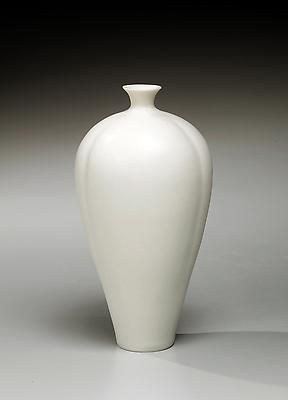 Slender white porcelain single-stem flower 2012 Glazed porcelain 6 1/4 x 4 inches  Inv# 7885 SOLD Image
