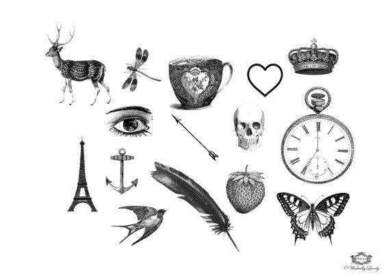 15 Whimiscal Assorted Vintage Tattoos Small Tattoos Vintage Tattoos Assorted Tattoos Body Art Mixed Tattoos Wickedly Lovely Skin Art Vintage Tattoo Design Vintage Tattoo Hippie Tattoo
