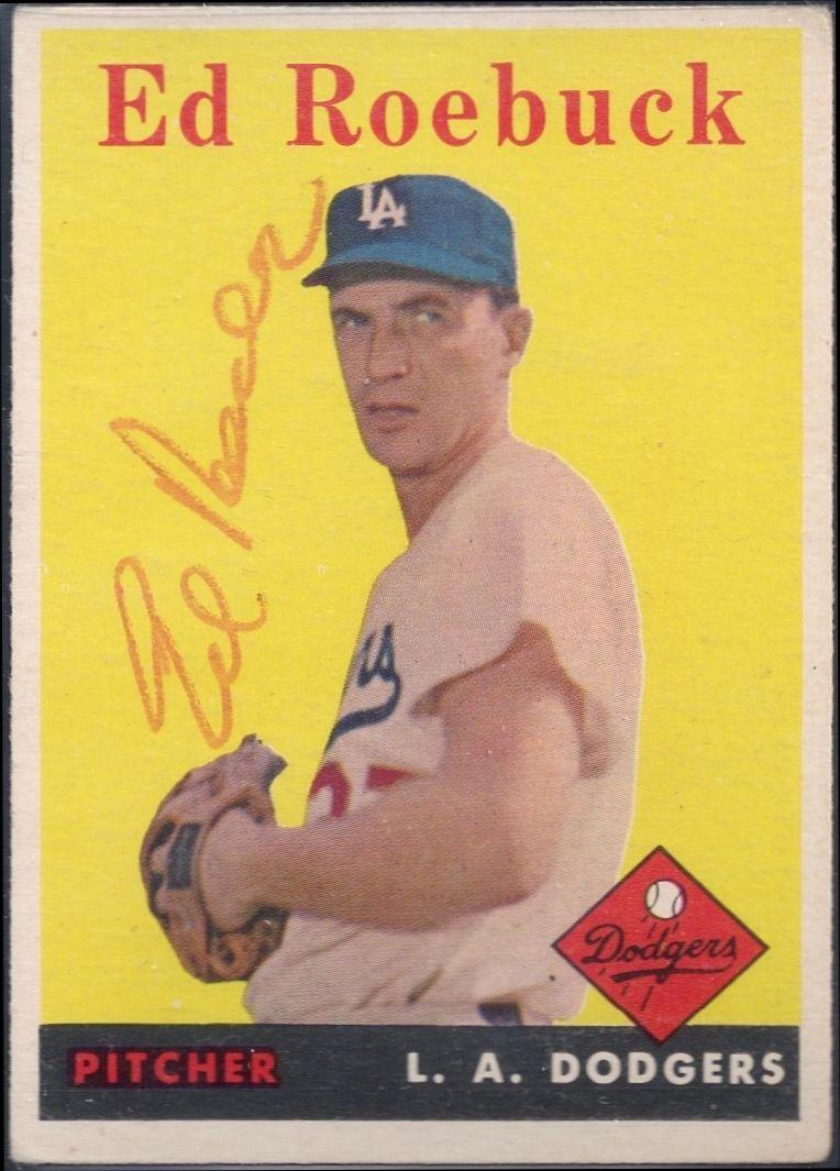 1958 topps ed roebuck autograph baseball cards dodgers