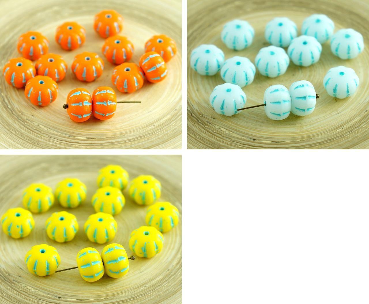 8pcs opaque yellow czech glass squashed melon beads halloween pumpkin fruit fall