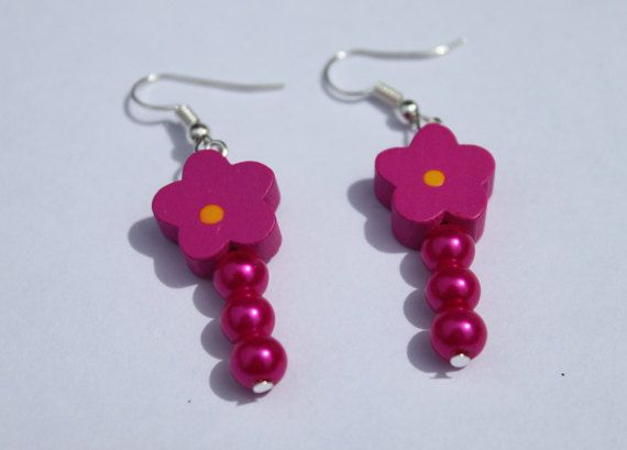 spanish fuschia flamenco en flower earrings