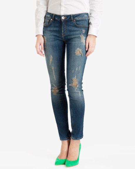 9979cbe67b1275 Ted Baker Distressed Skinny Jeans Mid Wash Printed Denim
