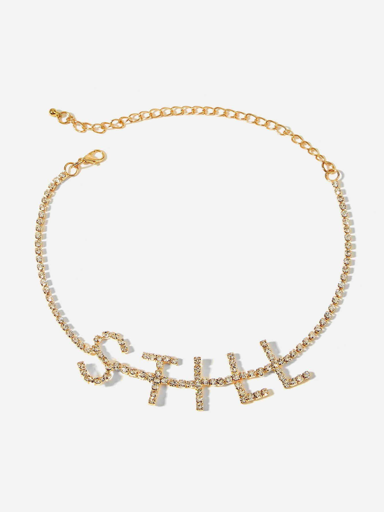 528e20fb79b Rhinestone Letter Decorated Choker . . . . . .  diamond  gold  cartier   silver  style  vca  fashionista  jewelry  necklace  diamonds  accessories   wedding ...