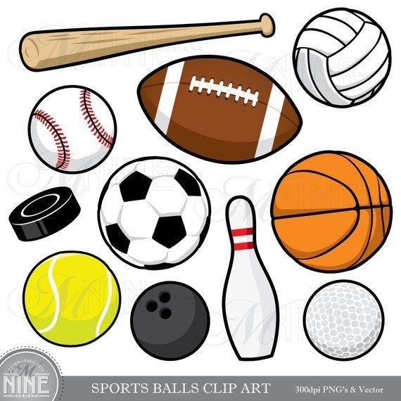 Sports Balls Clip Art Sports Balls Clipart Downloads Sports Party Sports Theme Sports Scrapbook Clipart Vector Sports In 2021 Sports Balls Clip Art Sports Theme