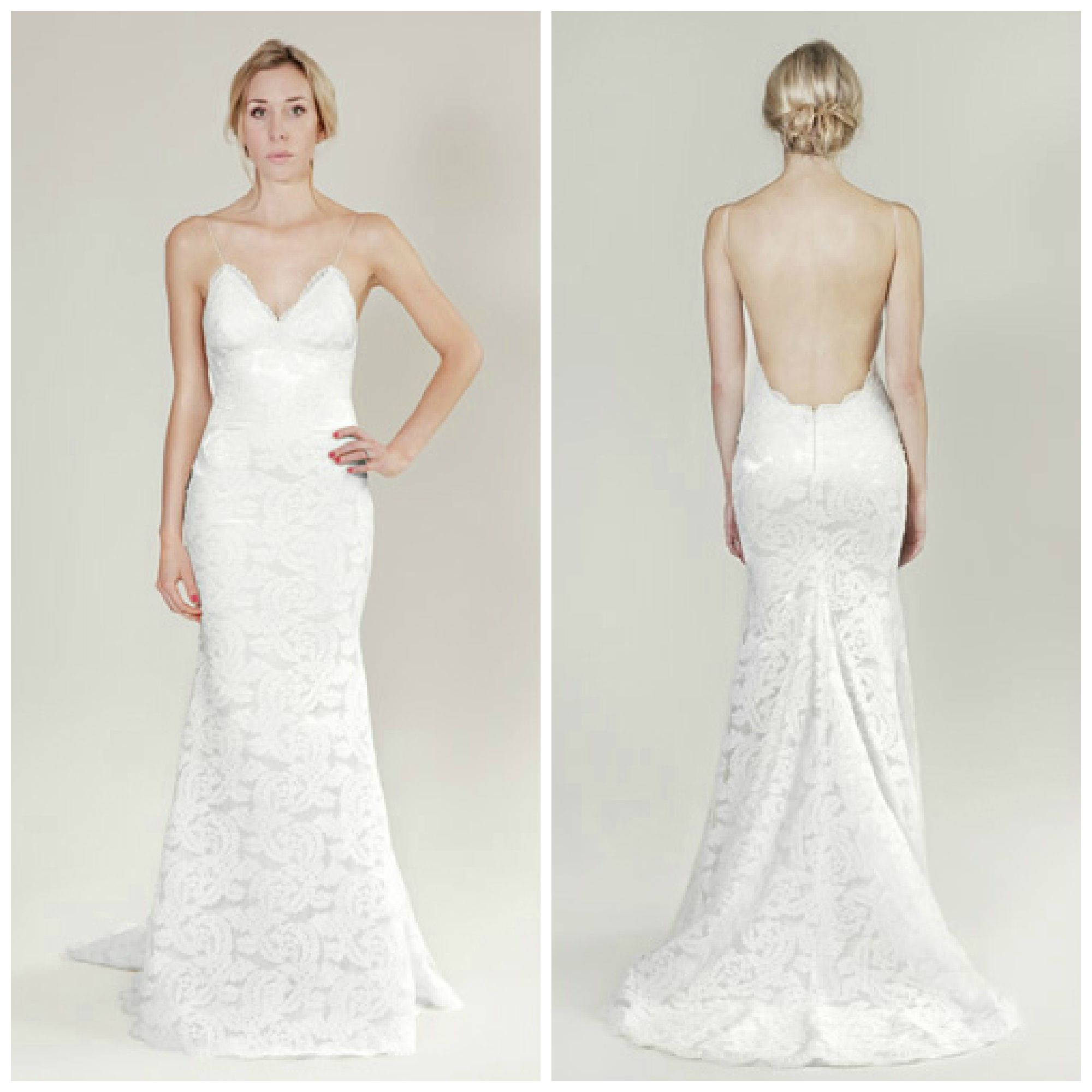 40+ Stunning Wedding Dresses 2014 2015 : Lace Backless V Neck Wedding Gown
