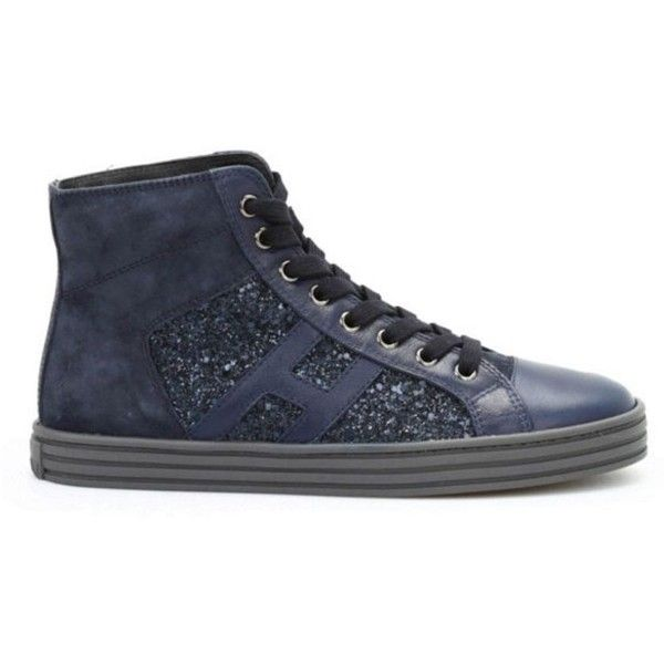 Hogan Rebel Sneakers R141 High Pailletts ($240) ❤ liked on Polyvore featuring shoes, sneakers, blue, leather high top sneakers, blue sneakers, glitter sneakers, blue leather shoes and high top trainers