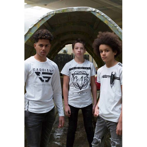 GABBIANO T shirt met contrastbies witzwart | T shirts