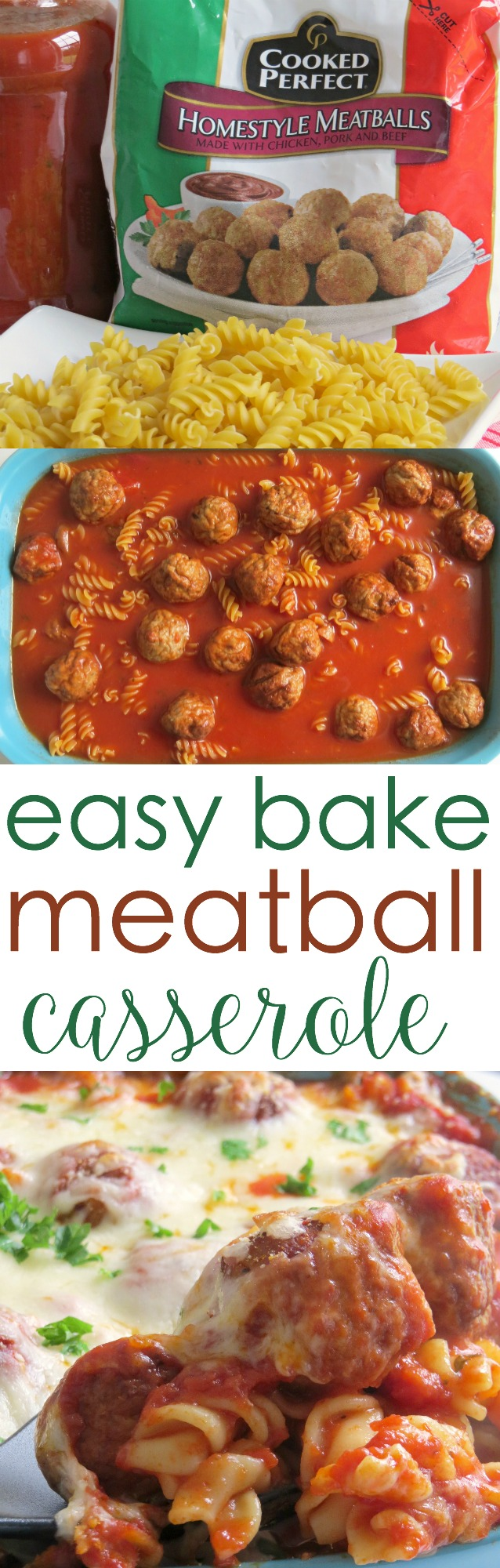 Try this easy Cheesy Meatball Casserole for dinner tonight
