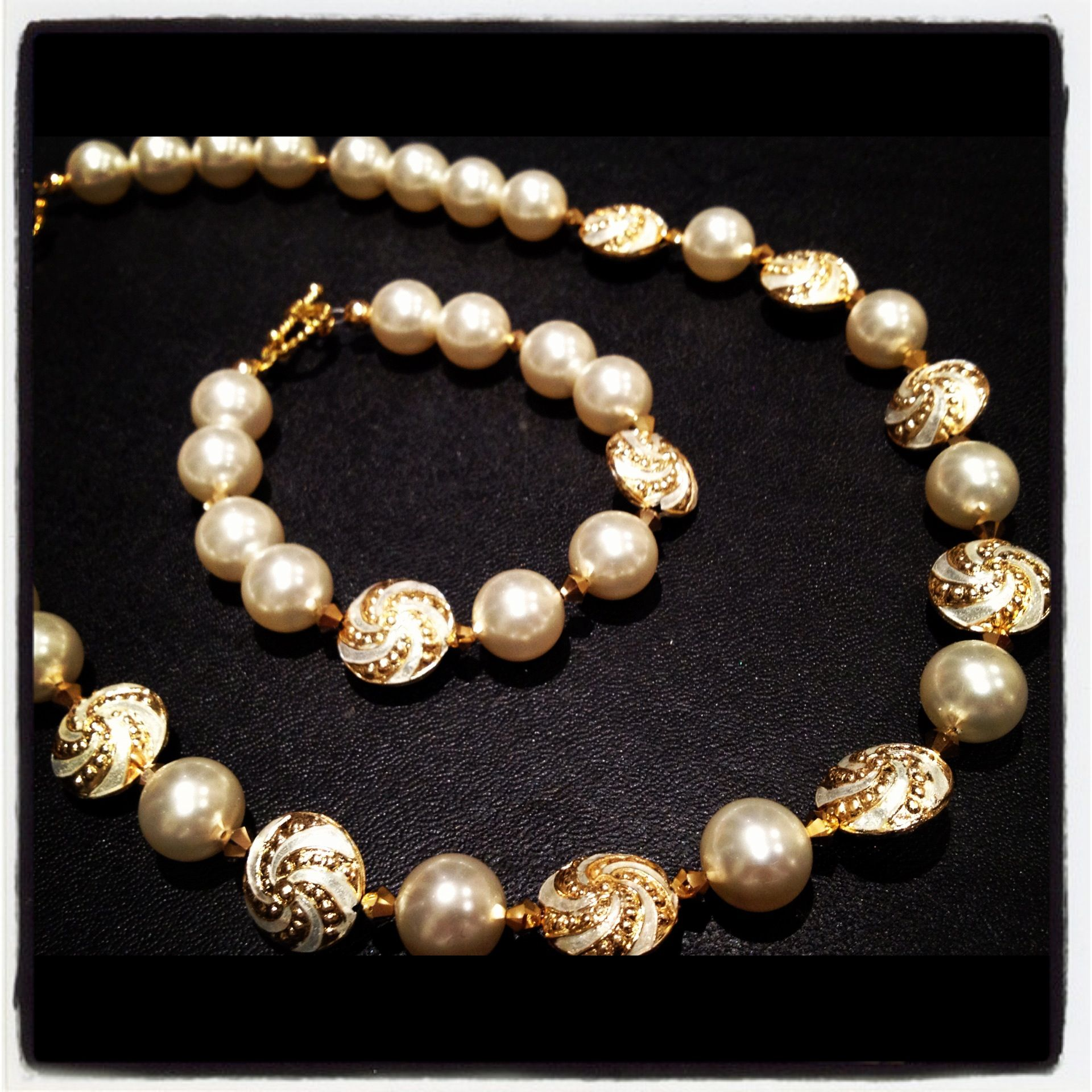 Cream/ Gold Cloisonné beads with Swarovski crystals and pearls. Necklace/ Bracelet set.