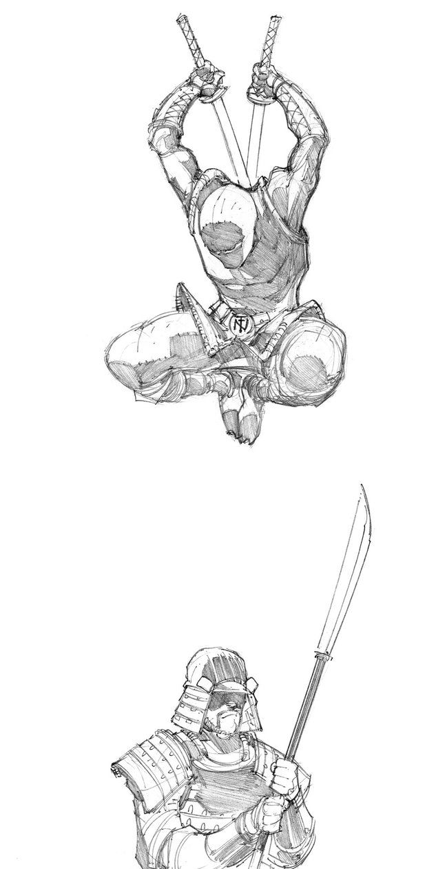 Didnt know what to draw as a warm up tiny ninja is always fun here he is dropping in on some unfortunate samurai