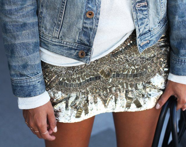 Sequin Mini Skirt with Jean Jacket | S.T.Y.L.E. | Pinterest | Mini ...
