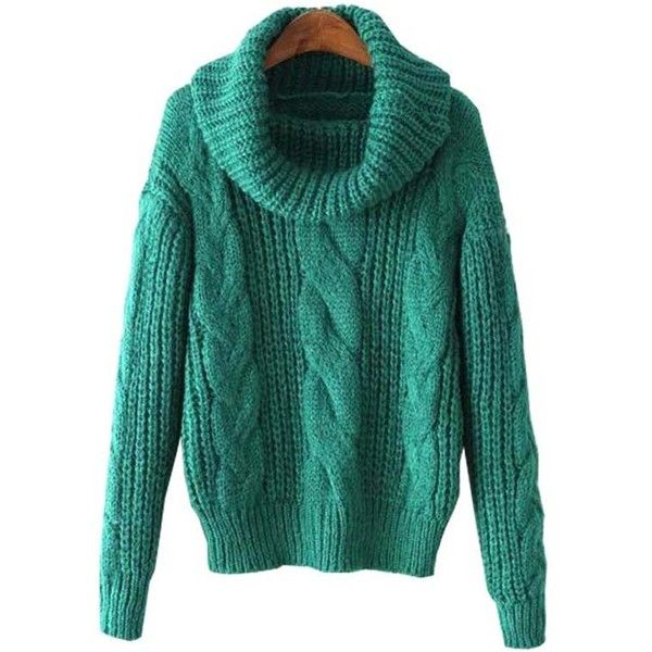 Chicnova Fashion Preppy Style Cable Knit Roll Neck Sweater (190 SEK) ❤ liked on Polyvore featuring tops, sweaters, green cable sweater, preppy tops, cable knit sweater, preppy sweaters and green sweater