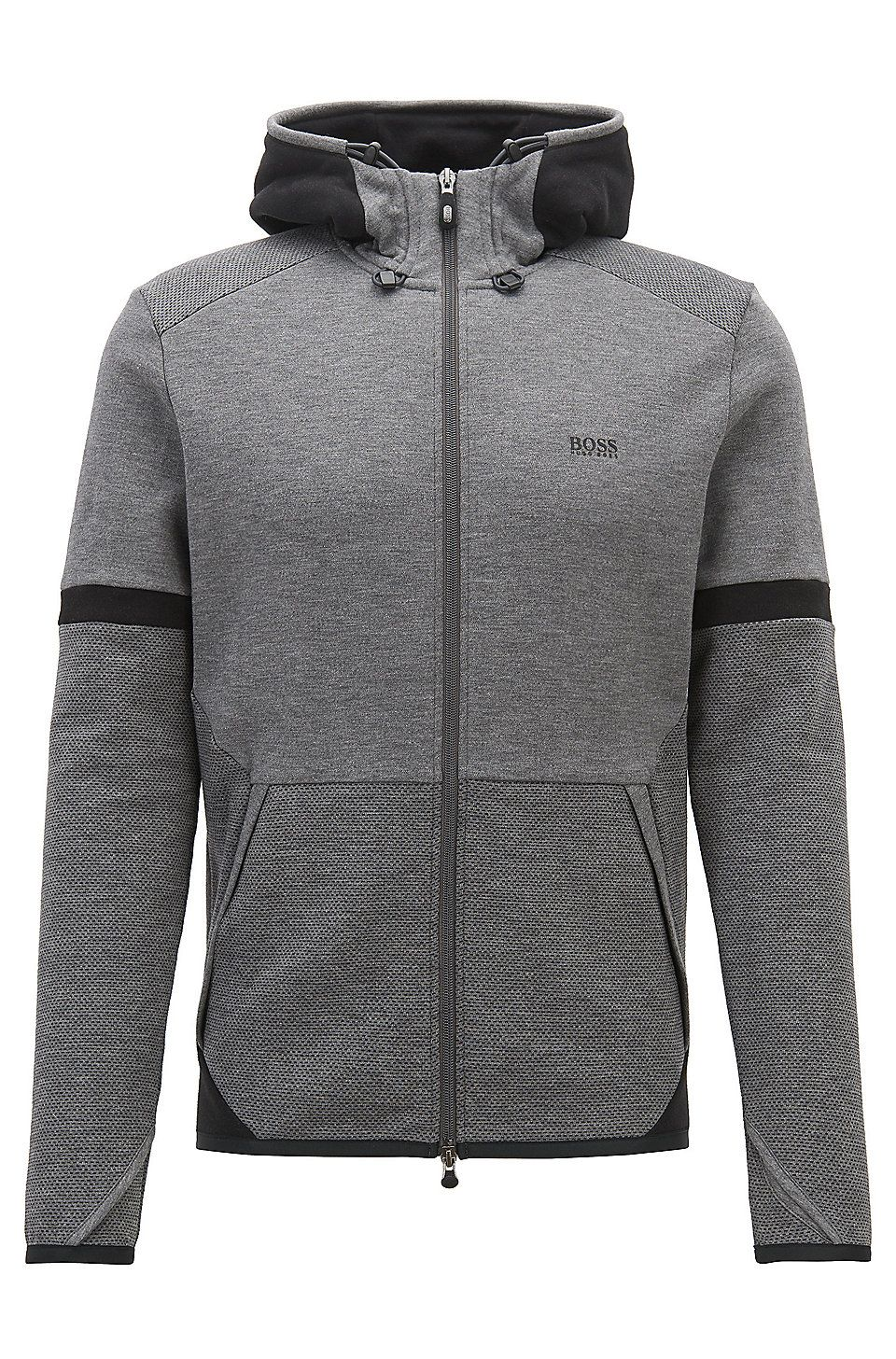 fa4fcd076 HUGO BOSS Hooded sweatshirt with two-way zip and contrast details -  Anthracite Tracksuits from BOSS for Men in the official HUGO BOSS Online  Store free ...