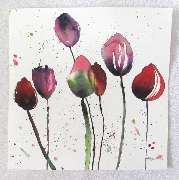 Abstract ORIGINAL flower art, Tulip painting, 12X12 inches
