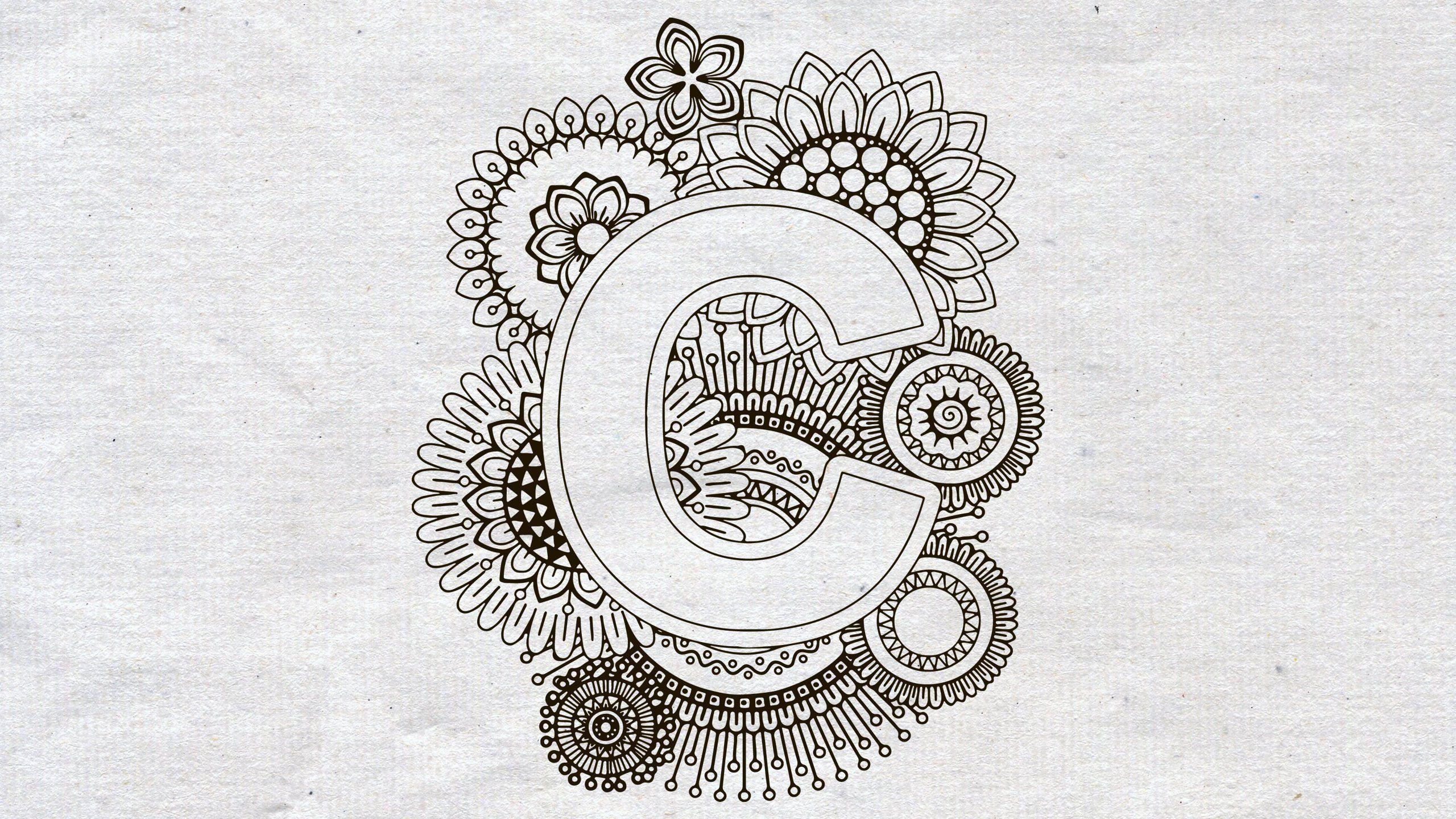 Mandala Svg  Svg Files For Cricut  Letter C  Zentangle Svg