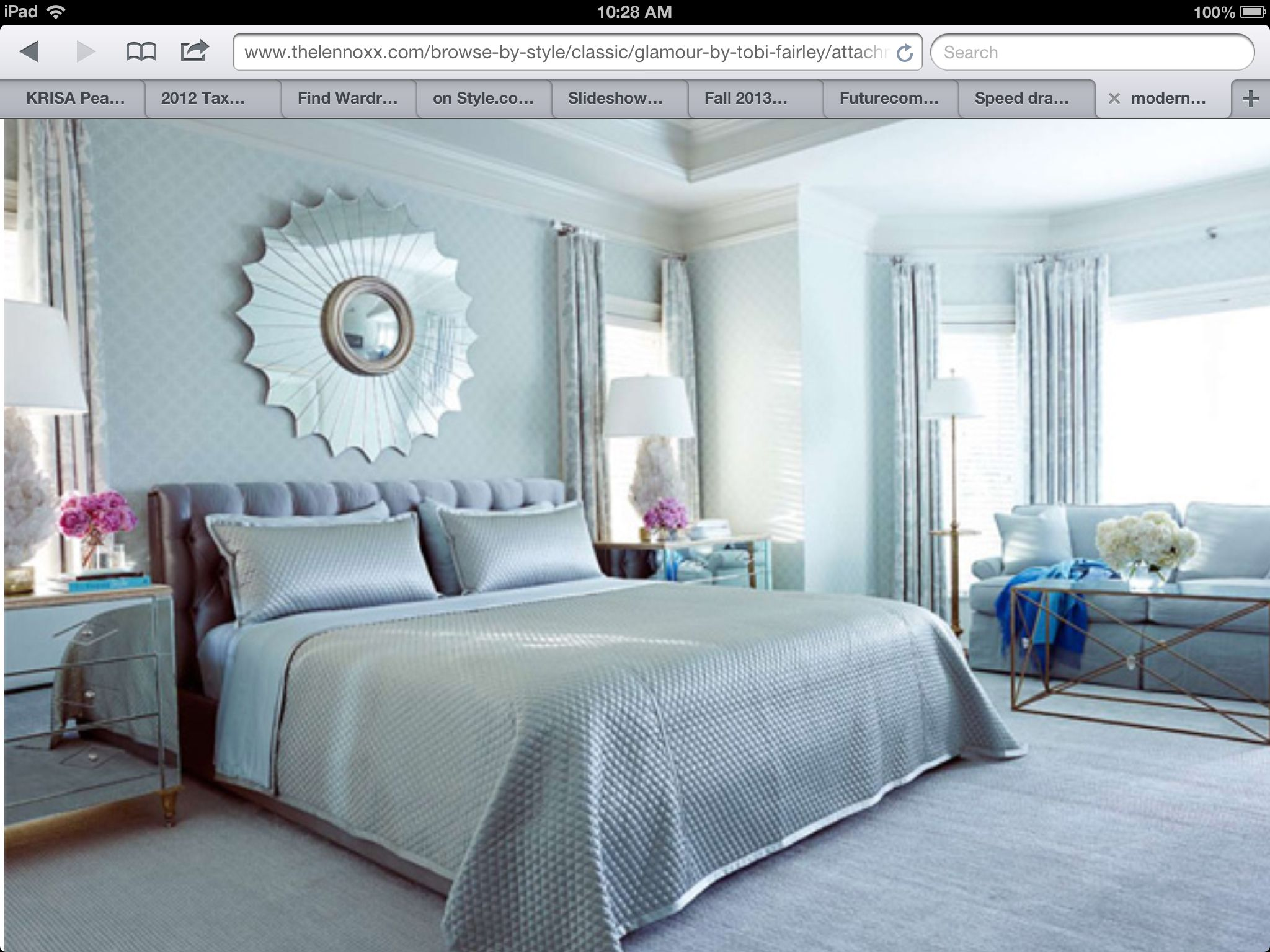 Modern chic light blue silver bedroom design sun mirror crystal lamps homes pinterest Modern chic master bedroom