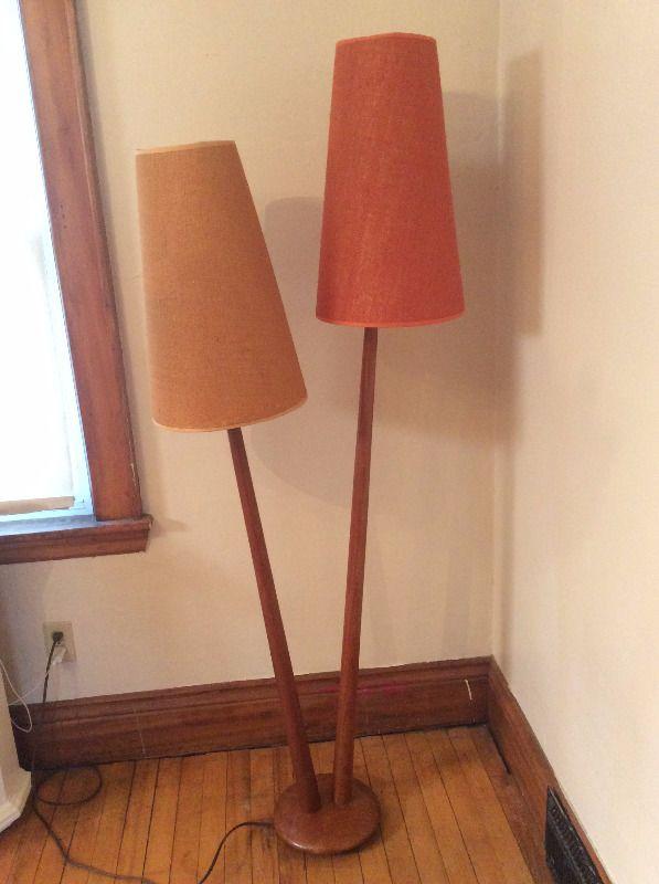 mid century double stemmed teak lamp indoor lighting fans