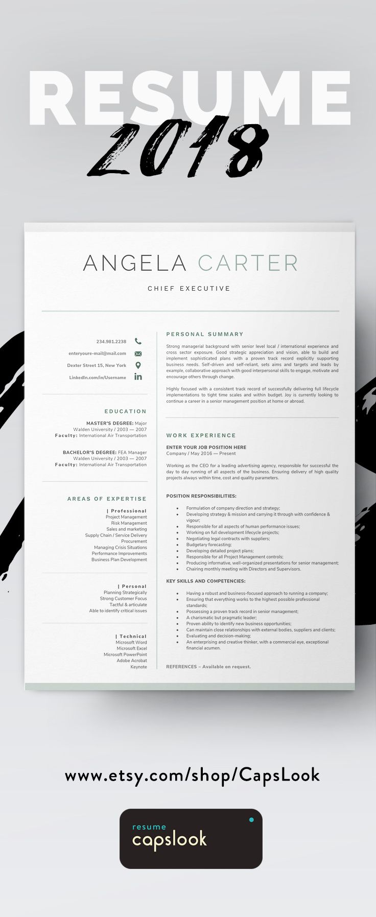 Executive Resume Template Instant Download, CV Template