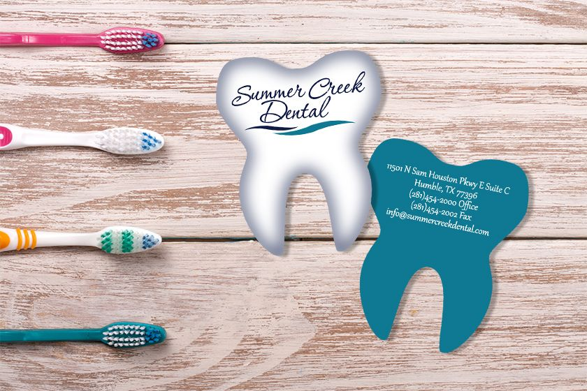 Business Card For Summer Creek Dental Tooth Shaped Business