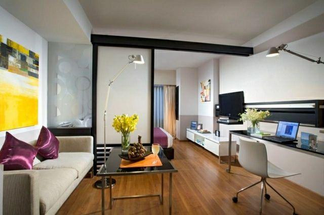 dekorieren der wohnung schlaf und wohnzimmer durch raumteiler trennen wohnen pinterest. Black Bedroom Furniture Sets. Home Design Ideas