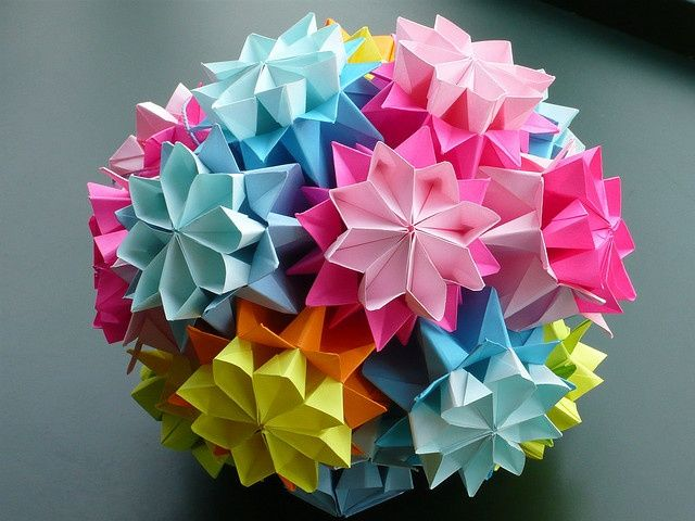 Flower kusudama bouquet of primula lace wedding dresses and origami origami mightylinksfo Choice Image