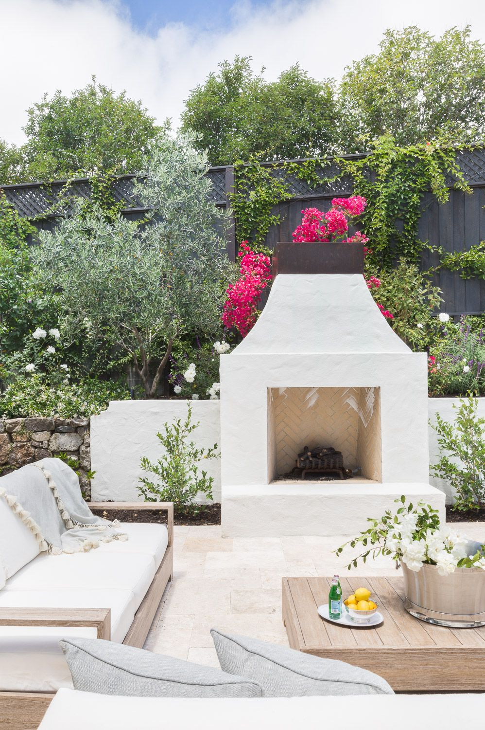Outdoor Fireplace White Stucco Spanish Revival Backyard Fireplace Outdoor Kitchen Design Patio Fireplace